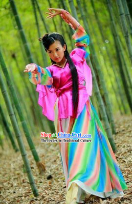 Rainbow Swordswoman Costumes and Headdress Complete Set