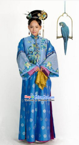 Qing Dynasty Imperial Princess Dresses and Headdress Complete Set