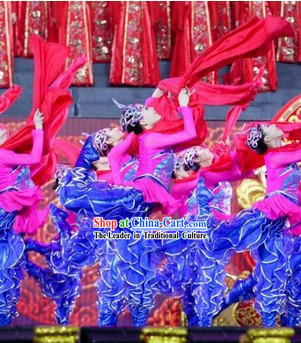 Chinese Spring Festival Gala Opening Dance Ribbon Dance Costumes and Headwear Complete Set