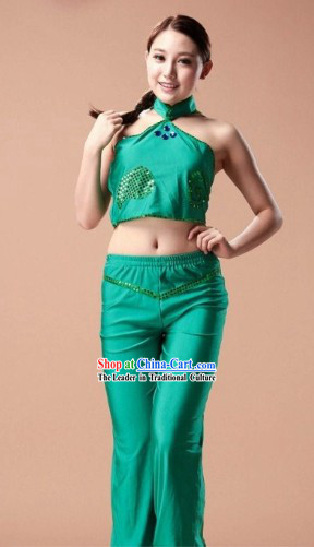 Traditional Chinese Green Contemporary Dance Costumes