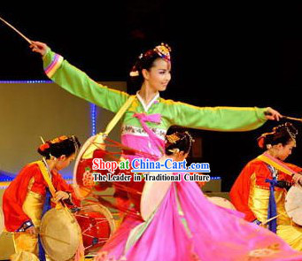 Professional Stage Performance Korean Ethnic Long Drum Dance Costumes and Headwear Complete Set