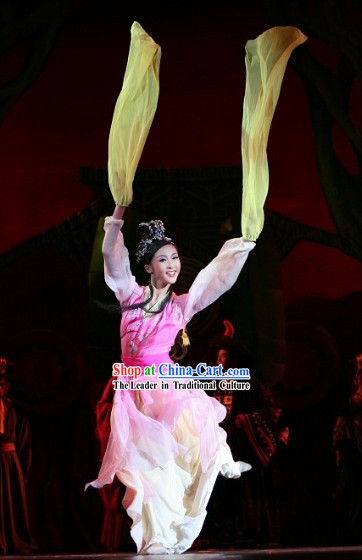 Traditional Chinese Long Ribbon Dance Costumes Complete Set