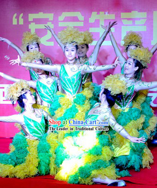 Green Flower Dance Costumes and Headdress Complete Set