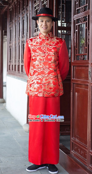 Chinese Classical Red Dragon Suit and Hat for Bridegrooms