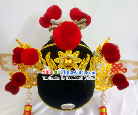 Lucky Wedding Bridegroom Fu Ma Hat with Balls