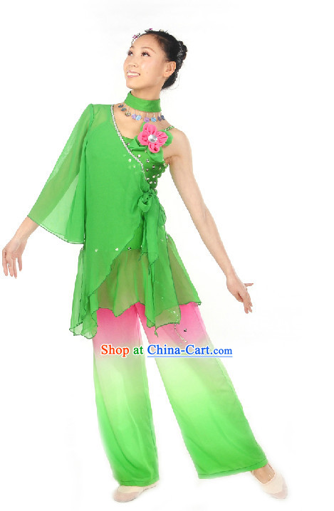 Professional Stage Performance Lotus Dancing Costumes Complete Set