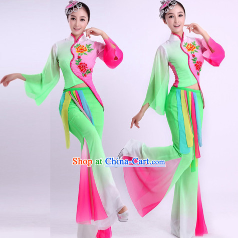 Traditional Chinese Classical Dancing Outfit and Hair Accessories Complete Set for Women