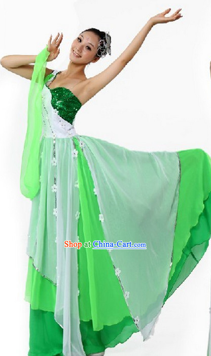 Professional Custom Make Stage Performance White and Green Dance Costumes