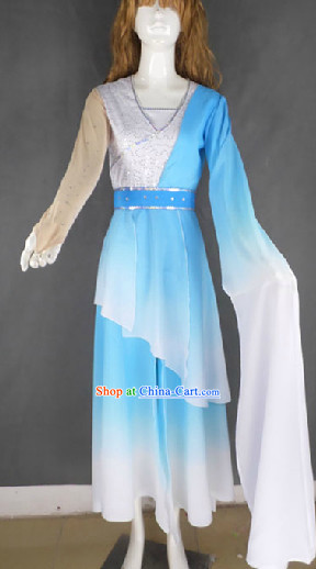 Blue White Color Transition One Long Sleeve Dance Costumes for Women