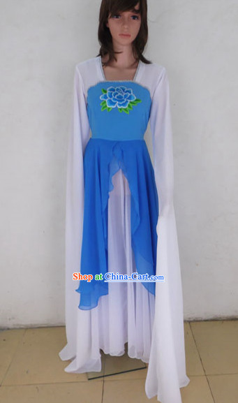 Blue and White Peony Water Sleeve Dance Costumes