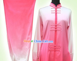 Short Sleeves Color Change Silk Martial Arts Competition Clothes