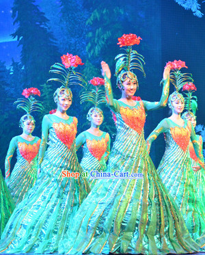 Professional Stage Performance Flower Dancing Costumes and Headwear Complete Set