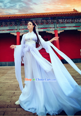 Ancient Chinese White Xiao Long Nv Dragon Lady Hanfu Clothes Complete Set