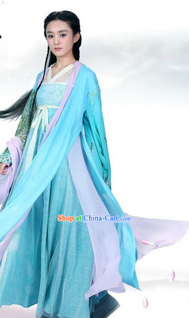 the Journey of Flower TV Drama Hua Qian Gu Blue Clothes Costumes Complete Set
