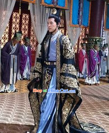 Ancient Chinese Palace Official Minister Costumes and Coronet Complete Set