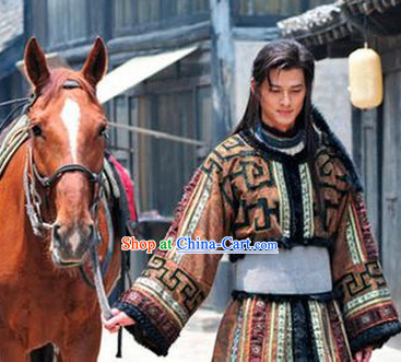 Chinese Costume Period of the Northern and Southern Dynasties Hua Mulan Legend Mongolian Tribe Prince Clothes Complete Set for Men