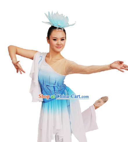 Professional Stage Performance Classical Dance Costumes and Headdress for Women - Zai Shui Yi Fang