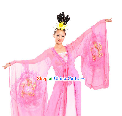 Classical Dance Team Wide Sleeves Costumes and Headdress