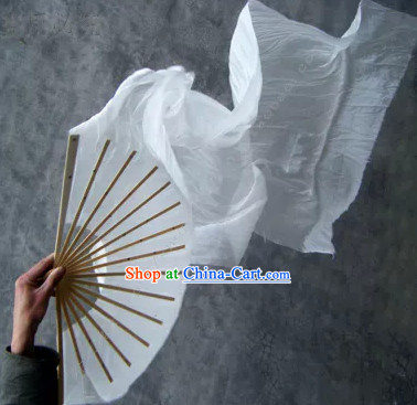 Pure White Chinese 100% Silk Long Dance Fan