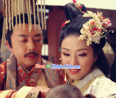 Traditional Chinese Emperor and Empress Headwear 2 Sets