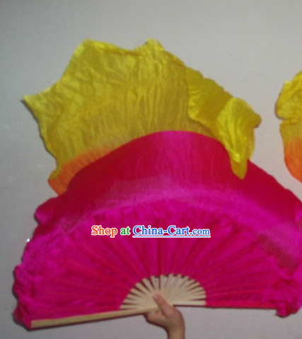 Traditional Color Transition Long Silk Dancing Fan