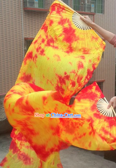 71 Inches Long Silk Fire Dancing Ribbon Fan