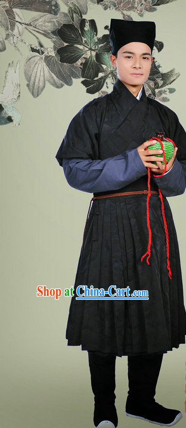 Ancient Chinese Huafu Hanzhuang Musician Clothes and Hat Complete Set for Men