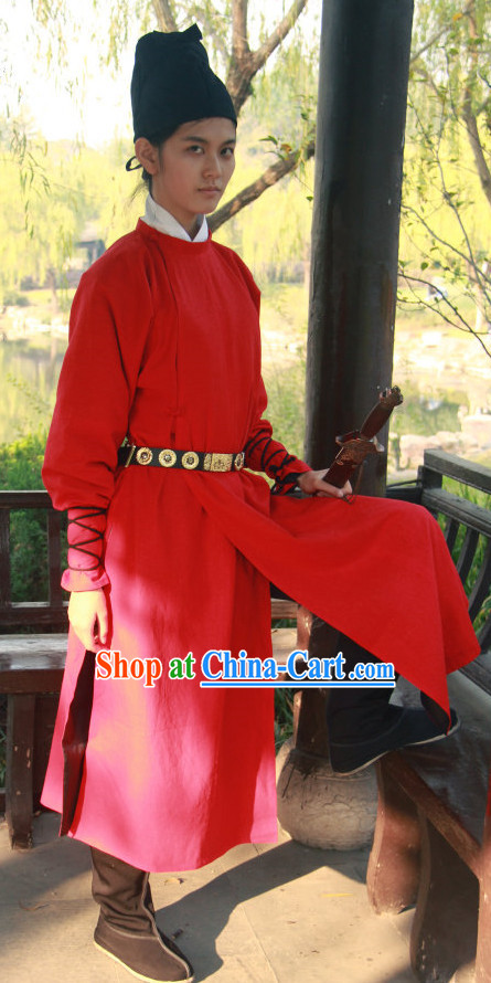 Handmade Red Swordman Yuanlingshan Gowns and Hat Complete Set