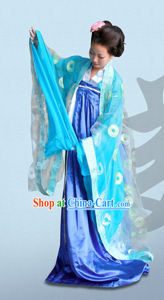 Tang Dynasty Hanfu Da Xiu Shan Ceremonial Dresses and Hair Accessories Complete Set for Women