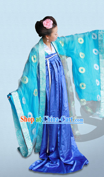 Tang Dynasty Hanfu Da Xiu Shan Ceremonial Clothing and Hair Accessories Complete Set for Women