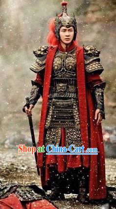 Chinese Traditional General Samurai Armor Costume and Helmet