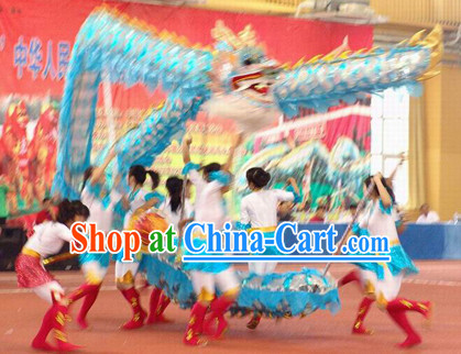 Lightweight Blue Chinese Dragon Dance Costume for 10 People
