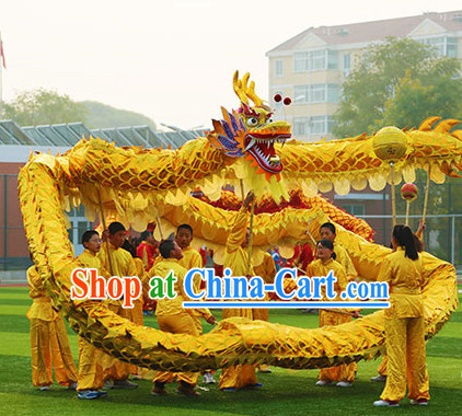 22 Meters Brand New Gold Chinese Dragon Dance Costume Complete Set for 12 People