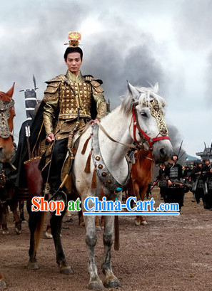 Gold Chinese Emperor Armor Clothing and Crown for Men