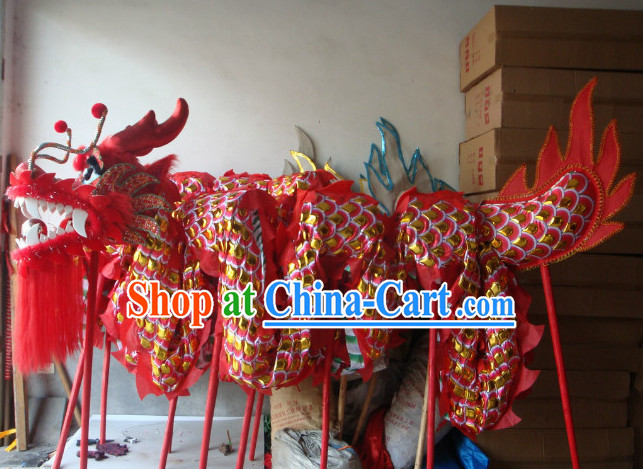 Top Red and Gold Armor Dragon Dance Equipments Complete Set