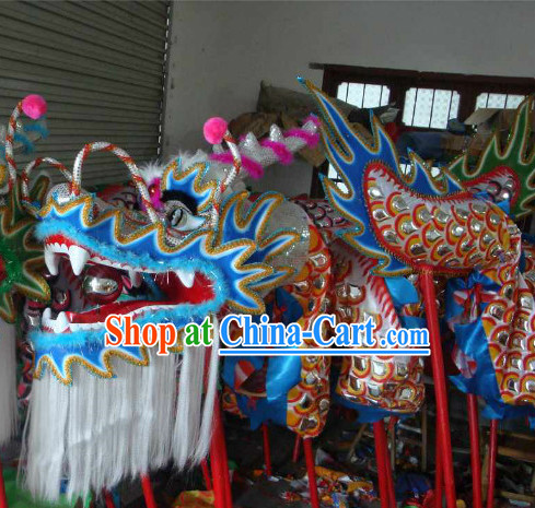 Top Silver and Blue Armor Dragon Dance Equipment Complete Set