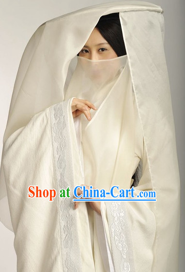 Chinese White Mysterious Hanfu Costumes and Hat Complete Set