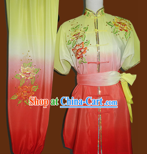 Color Transition Professional Kung Fu Competition Silk Outfit