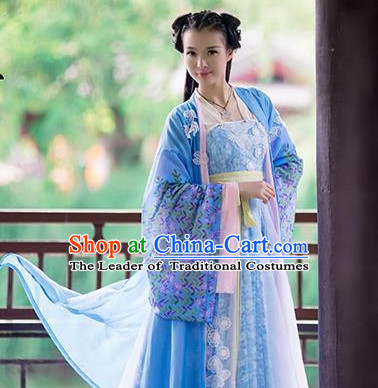 China Ancient Beauty Hanfu Long Robes Clothes Halloween Costume Complete Set for Women
