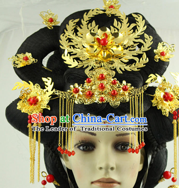 Ancient Chinese Empress Long Black Wigs and Handmade Hairpieces