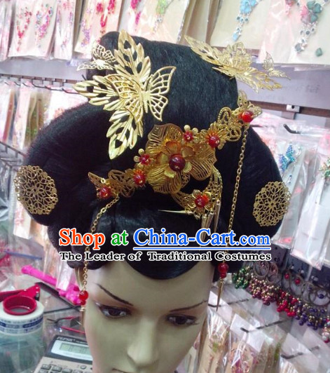 Ancient Chinese Palace Lady Black Wigs and Hair Accessories