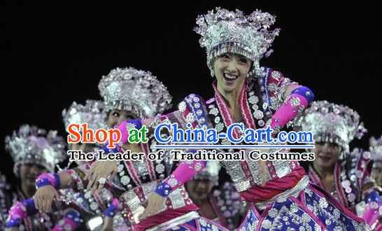 Chinese Miao Dance Costumes and Hat Complete Set for Women