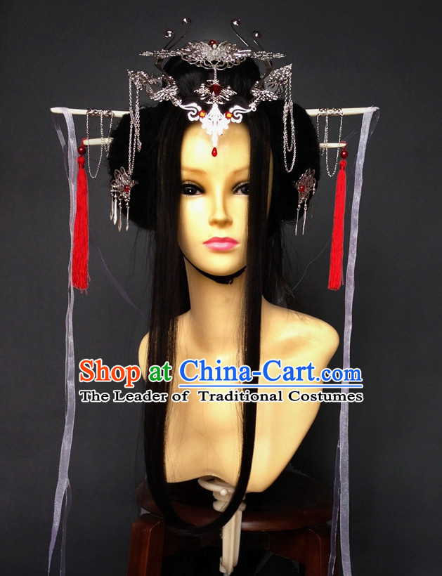 Chinese Halloween Empress Queen Princess Long Black Wigs and Hair Jewelry Set