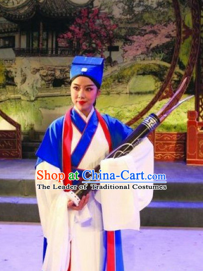 Chinese Opera Peking Opera Cantonese Opera Ancient Chinese Student Costumes and Hat Complete Set