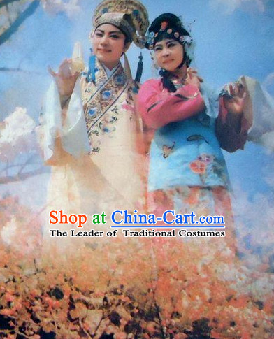 Chinese Opera Peking Opera Cantonese Opera Ancient Chinese Couple Costumes and Headwear Complete Set