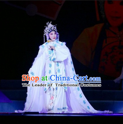 Chinese Opera Peking Opera Cantonese Opera Ancient Chinese Meng Jiang Nv Legend Costumes and Headwear Complete Set