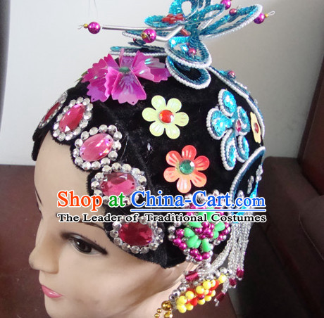 Handmade Ancient Chinese Peking Opera Qing Yi Wigs and Hair Pieces Set
