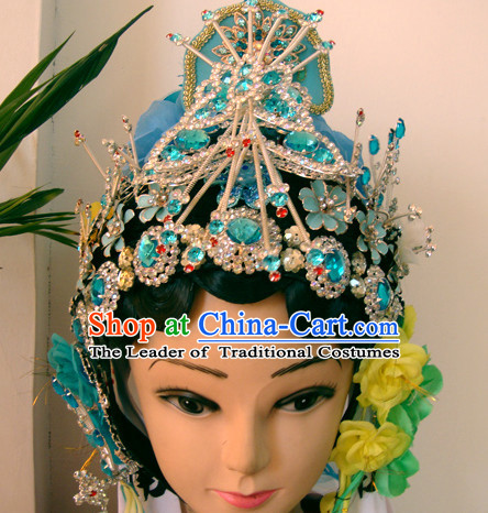 Chinese Opera Theatrical Performances Jade Butterfly Guan Yin Hairstyles Fascinators Fascinator Wholesale Jewelry Hair Pieces and Wigs