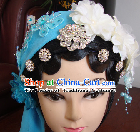 Chinese Opera Theatrical Performances Qin Xiang Lian Hairstyles Fascinators Fascinator Wholesale Jewelry Hair Pieces and Black Long Wigs