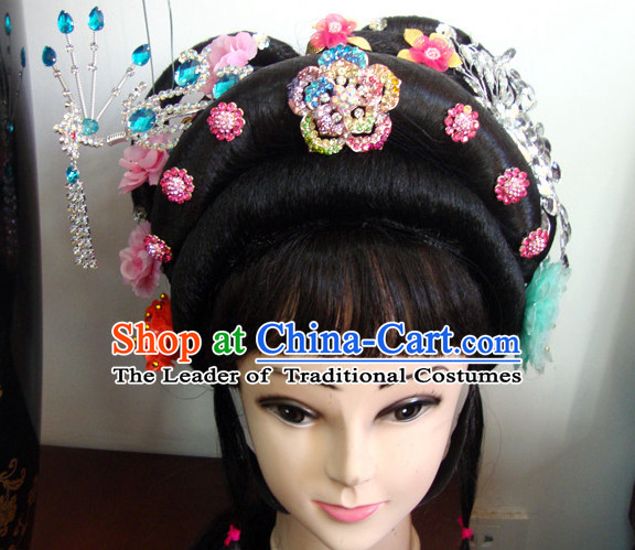 Chinese Opera Theatrical Performances Tao Hua Shan Fascinators Fascinator Wholesale Jewelry Hair Pieces and Black Long Wigs